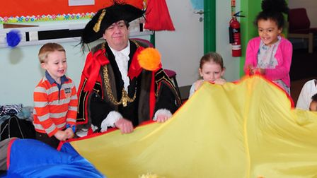 Children enjoy the games at the Sewell Toy Library Easter Trail where the Lord Mayor of Norwich, Kei