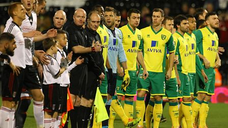 Norwich City and Fulham line up at Craven Cottage earlier in the season before their FA Cup third ro