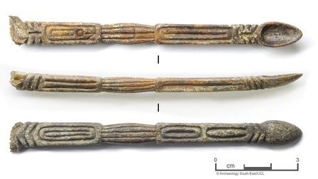 This bone spoon has been found during the excavation in Barking. Picture: Antonio Reis