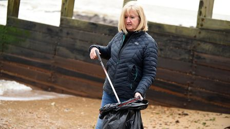 Mrs Bartlett frequently organises meet-ups to rid the town of litter Picture: CHARLOTTE BOND
