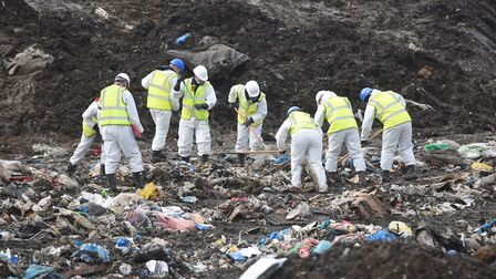 The search for Corrie McKeague at the Milton Landfill site in Cambridgeshire Pictures: GREGG BROWN