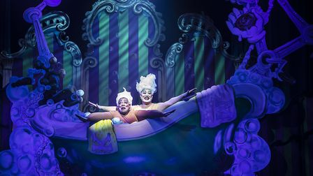 Having a splashing good time, Dale Superville and Antony Stuart-Hicks in Cinderella, the Colchester