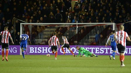 Nathan Arnold goes around Dean Gerken to score in the final minutes of the Ipswich Town's infamous F
