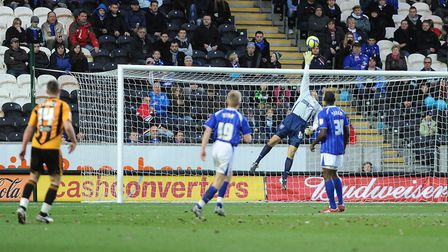 Arran Lee Barrett is beaten by Tom Cairney's strike during Ipswich Town's FA Cup defeat at Hull in 2