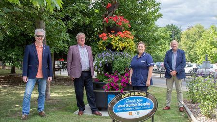 Bury in Bloom achieved a 'fountain of flowers' at West Suffolk Hospital earlier this year to say tha