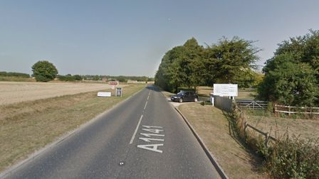 The A1141 at Kersey has been partially blocked Picture: GOOGLE MAPS