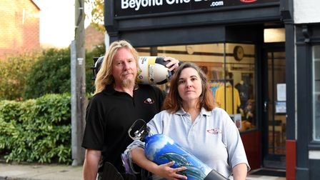 David and Kate Swain weren't able to open their new diving shop, Beyond One Bar due to lockdown Pic