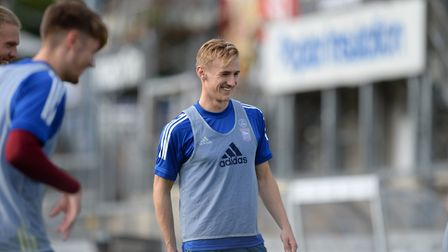 Flynn Downes. Warming up during the break at Bristol Rovers. Picture Pagepix Ltd