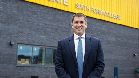 Principle of Abbeygate Sixth Form, David Gartland, with the new state-of-the-art building Picture: