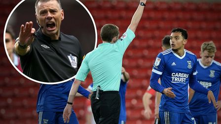 Former Premier League referee Mark Halsey (inset) says the two big decisions which went against Ipsw