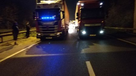 Tom Warner and Mark Wilson both parked their lorries under the bridge in the incident on the A14 nea
