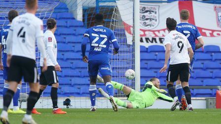 Ipswich keeper David Cornell is beaten early on as Portsmouth tale the lead from a Ronan Curtis (not