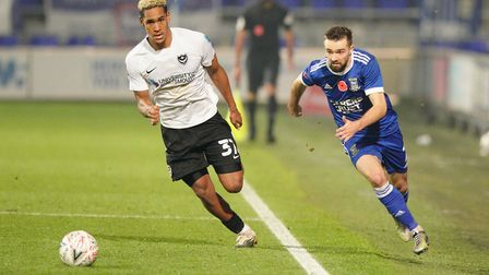 Gwion Edwards outpaces Haji Mnoga as he races for the ball.Picture: Steve Wallerwww.ste