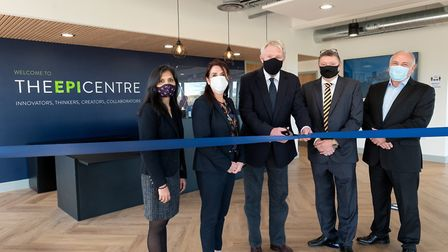 The opening of the EpiCentre in Haverilll on November 2 from left, Babita Devi (Oxford Innovation),