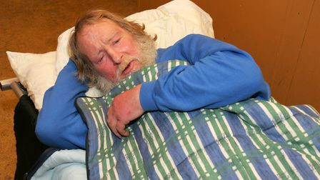 Ray during a night at the homeless night shelter at the Barking Baptist Tabernacle in Linton Road. P