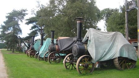 Not something you see every day: Part of the traction engine collection spotted alongside the path f