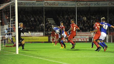 Frank Nouble misses a second-half headed chance in the Capital One Cup defeat at Crawley Town, from
