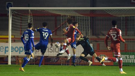 The home side take the lead against Ipswich at Crawley Town Picture Pagepix Ltd