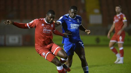 Tyreese Simpson challenges at Crawley Town Picture Pagepix Ltd