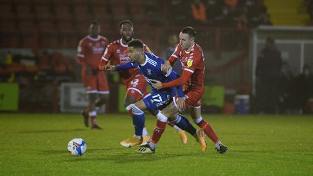 Keanan Bennetts bursts through a challenge at Crawley Town Picture Pagepix Ltd