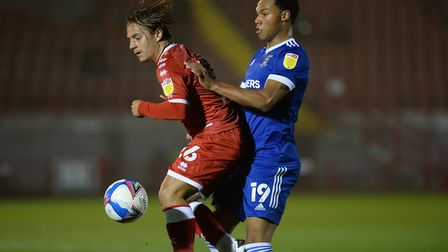 Ipswich Town defender Corrie Ndaba challenges at Crawley Town. Picture: Pagepix Ltd