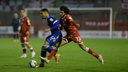 Keanan Bennetts under pressure at Crawley Town Picture Pagepix Ltd