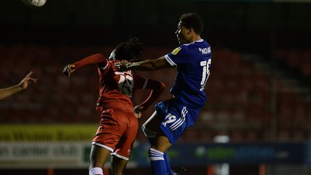 Corrie Ndaba with a header from a second half corner at Crawley Town. Picture: Pagepix Ltd