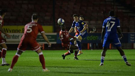 Ross Crane has a second half shot deflected for a corner at Crawley Town Picture Pagepix Ltd