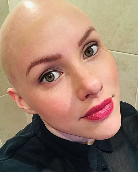 This is the first bald picture Laura posted on her Instagram page. Picture: LAURA MATHIAS