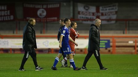 Paul Lambert leaves the pitch after the defeat at Crawley Town Picture Pagepix Ltd