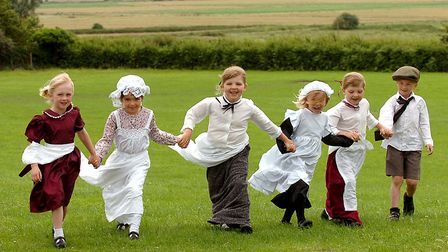 Children at Hollesley primary school having a Victorian day to celebrate the school's 130 years in 2