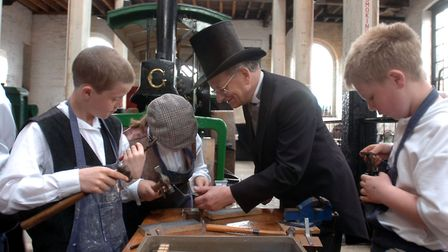 Pupils from Saxmundham and Leiston Middle Schools at a Victorian Apprentices day at the Long Shop Mu