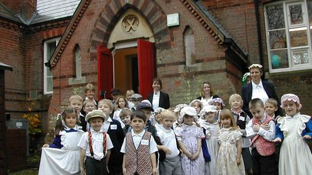 Pupils and staff from Bramfield Primary School, near Halesworth, celebrate a Victorian day in 2002,