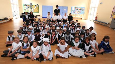 Pupils at Fairfield Primary School in Felixstowe get into character during their Victorian Day in