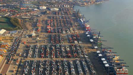 Containers of PPE are being moved from Felixstowe Port. Picture: Mike Page