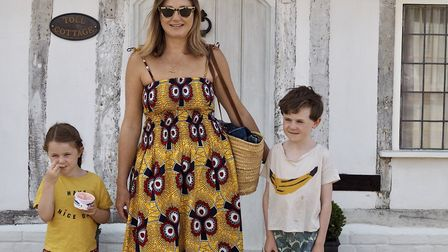 Lifestyle and fashion blogger Emma Paton with children Finn and Violet Picture: EMMA PATON