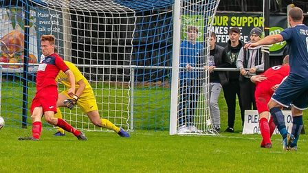 Matt Paine scores Hadleigh United's second goal in a 2-1 win over Woodbridge Town. Picture: PAUL LEE