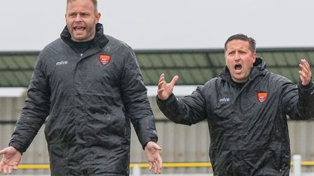 Felixstowe United's management team of assistant Andy Crump (left) and boss Stuart Boardley. Picture