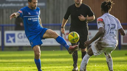 Carlos Edwards brings the ball under control during Bury Town's last outing before lockdown, a 2-2 d