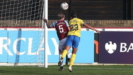 Rianna Jarrett of Brighton scores the first goal for her team and celebrates during West Ham United