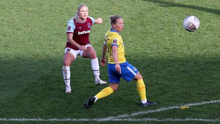 Adriana Leon of West Ham goes close to a goal during West Ham United Women vs Brighton & Hove Albion