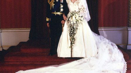 That fairytale dress - the Prince and Princess of Wales at Buckingham Palace after their wedding at