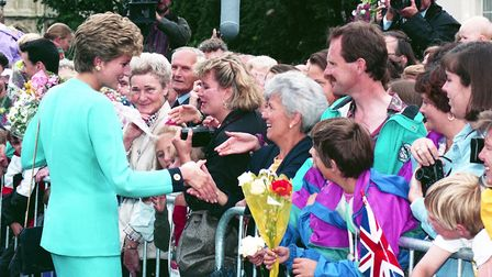 Diana, Princess of Wales, shaking hands with residents of Bury St Edmunds on Angel Hill in 1993 Pict