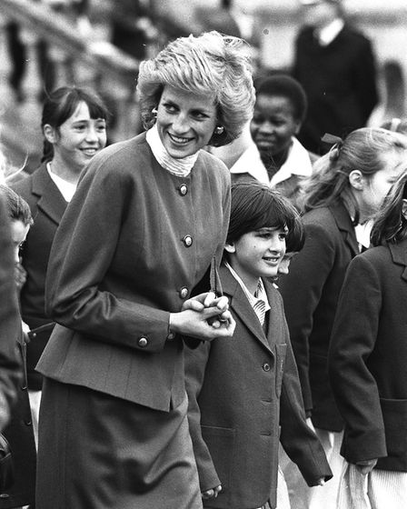 Princess Diana during her visit to her old school, Riddlesworth Hall near Thetford, in April 1989 Pi