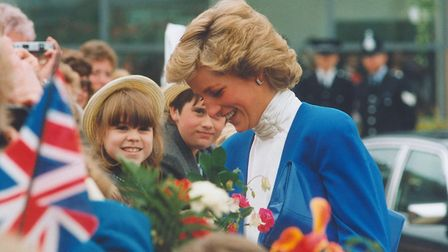 Princess Diana meeting local school children at the opening of Splash Leisure and Fitness Centre, Sh