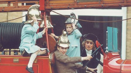 Princess Diana at Sandringham with Prince William, Prince Harry and Peter Phillips, visiting a vinta