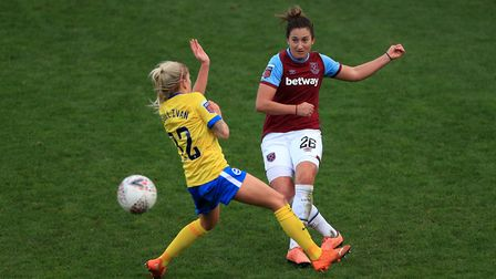 Brighton and Hove Albion's Libby Bance (left) and West Ham United's Laura Vetterlein battle for the