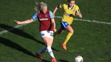 West Ham United's Grace Fisk (left) and Brighton and Hove Albion's Denise O'Sullivan battle for the