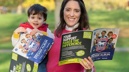 Raffy and Catherine Sullivan with the new ITFC sticker book. Picture:Sarah Lucy Brown