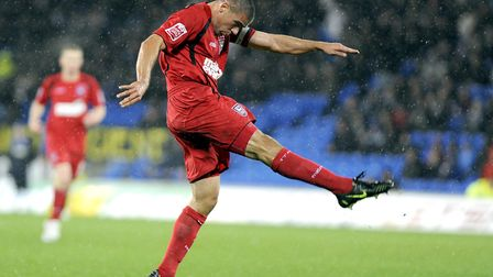 Jon Walters volleys home Ipswich Town's equaliser at Cardiff City during a 2-1 win, from 11 years ag